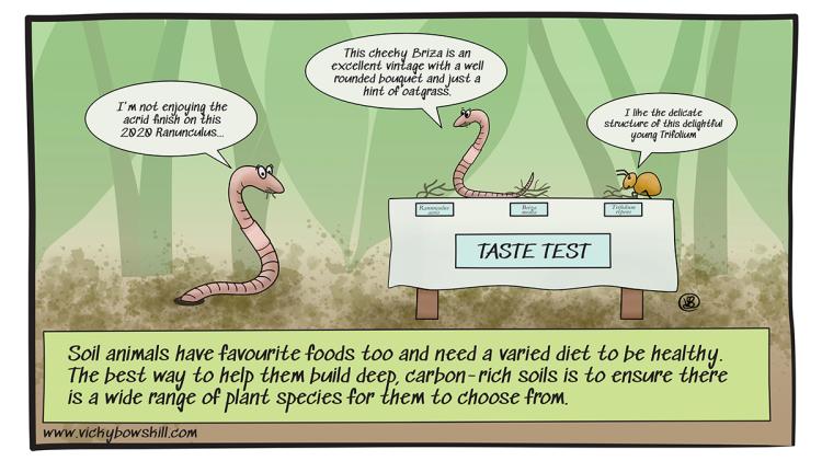 Cartoon of soil organisms taste testing roots.